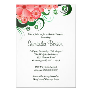 Floral Pink Hibiscus Wedding Bridal Shower Invite