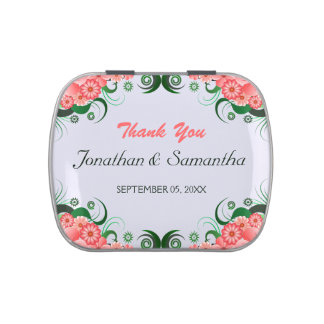 Floral Pink Hibiscus Wedding Favor Candy Tins