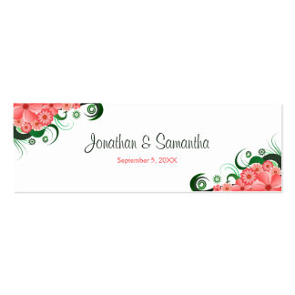 Floral Pink Hibiscus Wedding Favour Favor Tags Double-Sided Mini Business Cards (Pack Of 20)