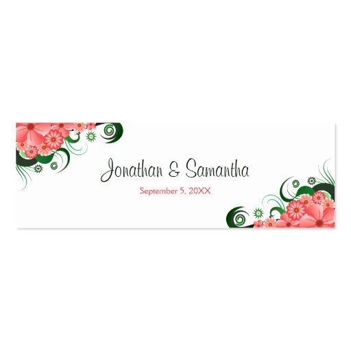 Floral Pink Hibiscus Wedding Favour Favor Tags Business Card