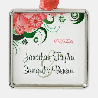 Floral Pink Hibiscus Wedding Keepsake Ornaments