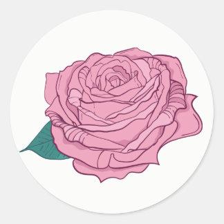 Floral Pink Lavender Rose Flower Classic Round Sticker