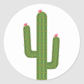 Floral Pink Love Green Cactus Pink Flowers Classic Round Sticker