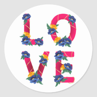 Floral Pink Love With Blue & Yellow Flowers Classic Round Sticker