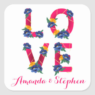 Floral Pink Love With Blue & Yellow Flowers Square Sticker