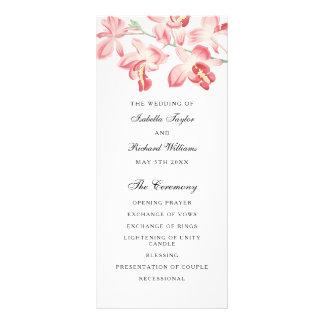 Floral pink orchid elegant modern wedding program rack card design