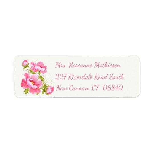 Floral Pink Peony Flower Return Address Label
