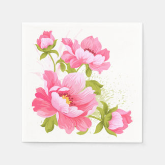 Floral Pink Peony Flower Wedding Announcement Paper Napkin