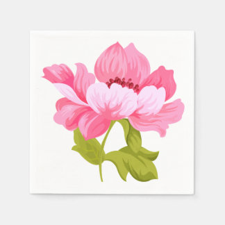 Floral Pink Peony Flower Wedding Party Disposable Napkin