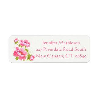 Floral Pink Peony Flower Wedding Peonies Return Address Label
