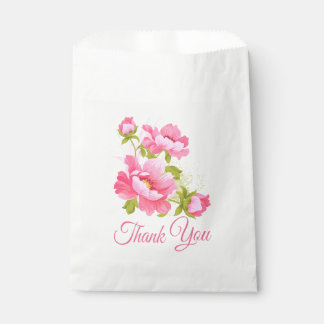 Floral Pink Peony Flower Wedding Thank You Peonies Favour Bag
