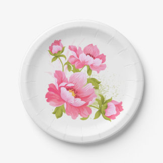Floral Pink Peony Watercolor Flowers Wedding Party Paper Plate