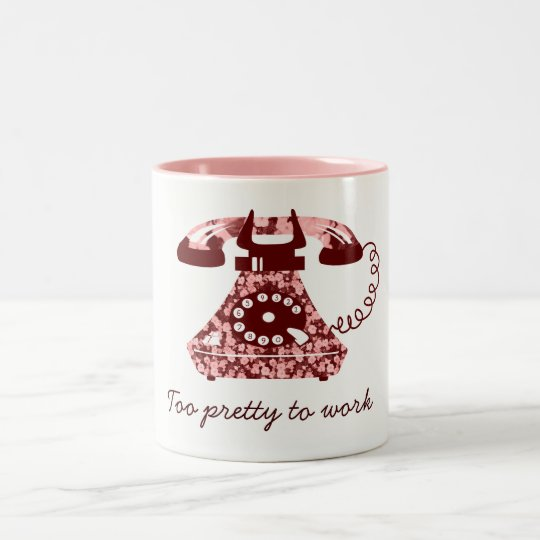 Floral Pink Phone Too Pretty To Work Chic Charming Two-Tone Coffee Mug