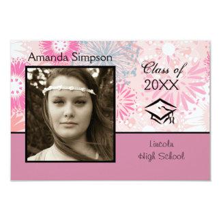Floral & Pink Photo - 3x5 Graduation Announcement