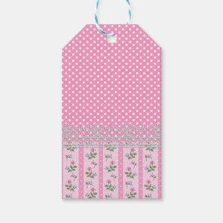 floral pink polka dots design art gift tags