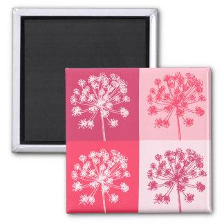 Floral Pink Popart Square Magnet