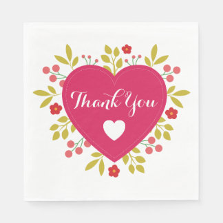 Floral Pink Red Heart Thank You Paper Napkins
