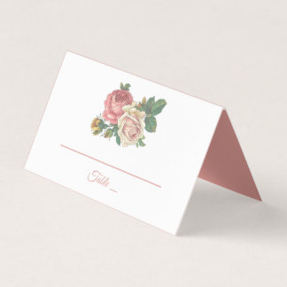 Floral Pink Rose Flower Wedding, Engagement Party Place Card