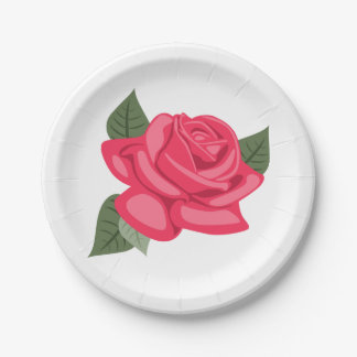 Floral Pink Rose Flower  - Wedding, Party 7 Inch Paper Plate