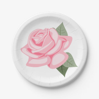 Floral Pink Rose Flower  - Wedding, Party Paper Plate