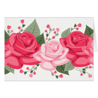 Floral Pink Rose Flowers - Thinking of you, Hello Card