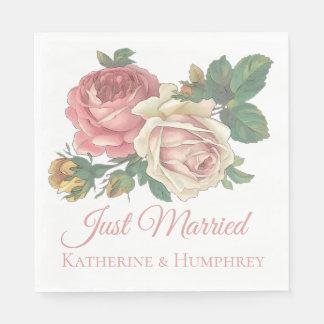 Floral Pink Rose Just Married Floral Wedding Paper Napkin