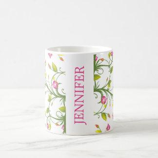 FLORAL PINK ROSE VINE NAVY ELEGANT PERSONALIZED COFFEE MUG