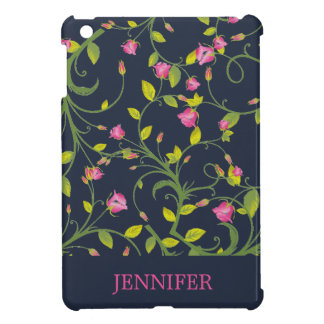 FLORAL PINK ROSE VINE NAVY PERSONALIZED iPad MINI COVER