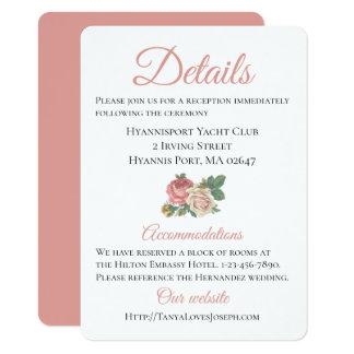 Floral Pink Rose Wedding Directions Details Card