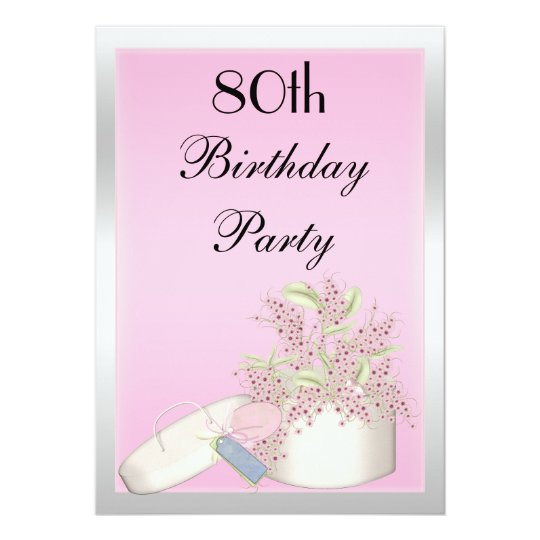 Floral Pink & Silver 80th Birthday Card