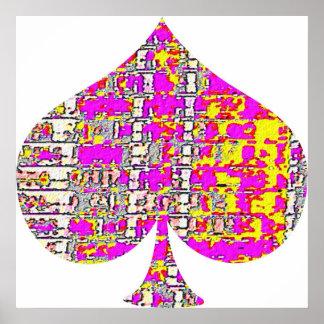 Floral Pink Spade - Poker Fantasy Art Poster