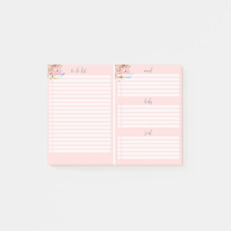 Floral Pink To Do List Post-it® Notes