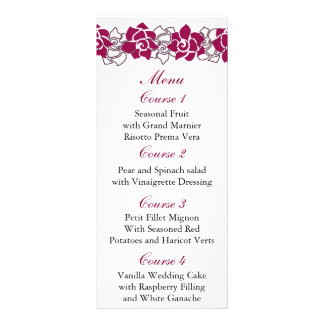 floral pink Wedding menu Rack Card