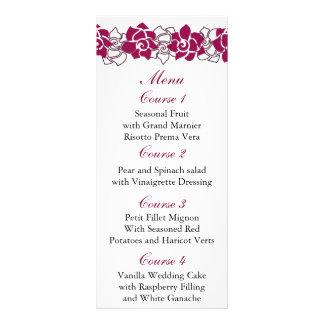 floral pink Wedding menu Rack Card