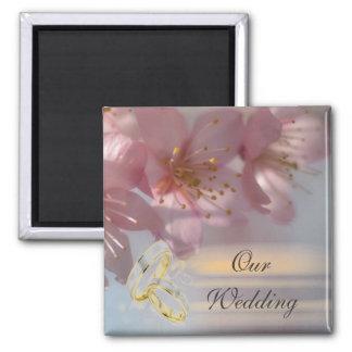 Floral Pink Wedding Square Magnet