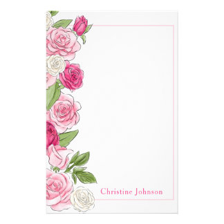 Floral Pink & White Roses Personalized Stationery