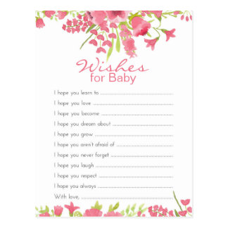 Floral Pink Wishes For Baby Postcard
