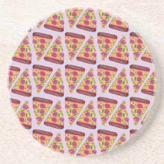 floral pizza coaster