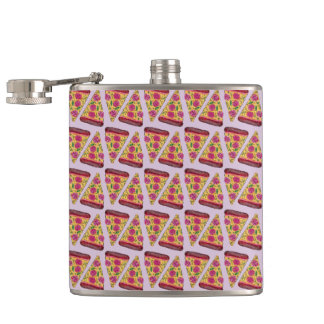 floral pizza hip flask