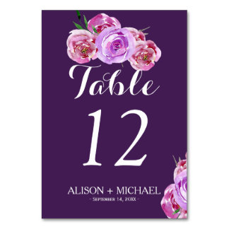 Floral plum blush violet fall wedding guest card