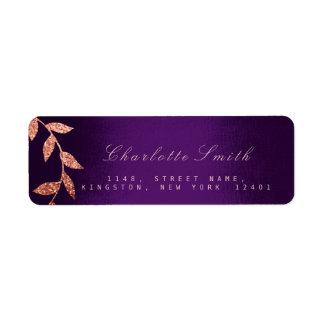 Floral Plum Golden faux Return Address Labels