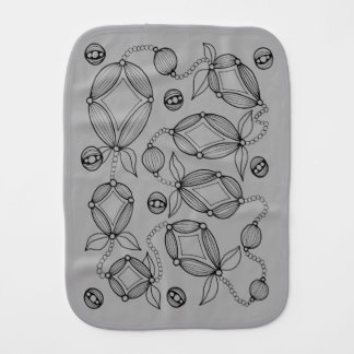 Floral Pod  Line Art Design Burp Cloth