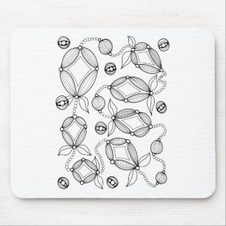 Floral Pod  Line Art Design Mouse Pad