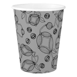 Floral Pod  Line Art Design Paper Cup