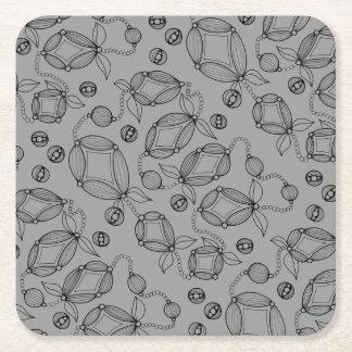 Floral Pod  Line Art Design Square Paper Coaster