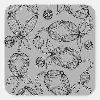 Floral Pod  Line Art Design Square Sticker