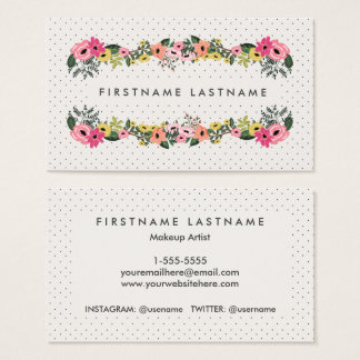 Floral Polka Dot Business Cards