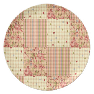 Floral Polka Dot Plaid Melamine Plate