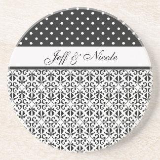 Floral & Polka Dots in Black & White Custom Coasters