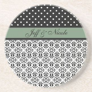 Floral & Polka Dots in Mint Green Custom Coasters